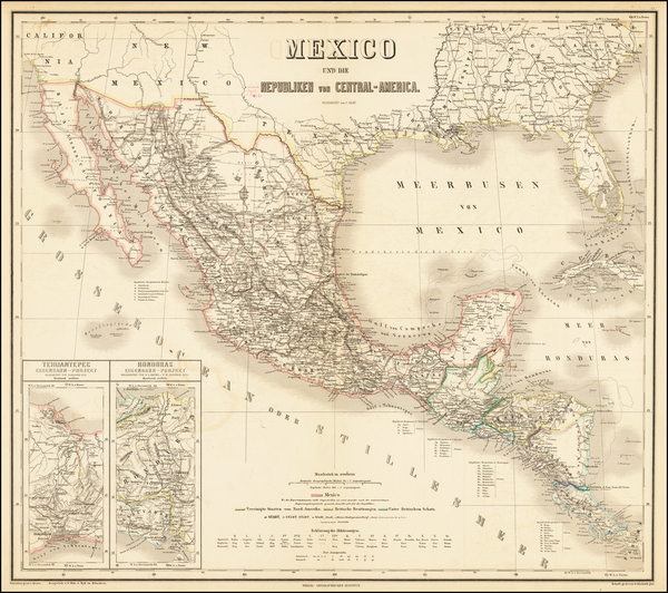 21-Southwest, Mexico and Central America Map By Weimar Geographische Institut