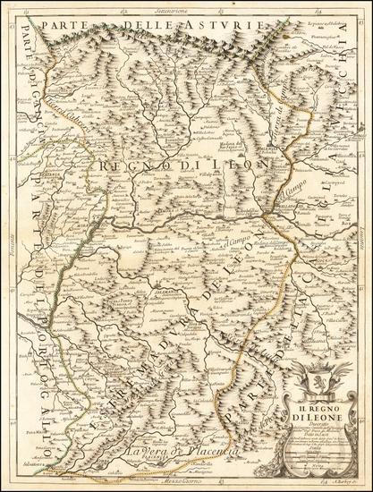 60-Spain Map By Giacomo Giovanni Rossi / Giacomo Cantelli da Vignola / Domenico Rossi
