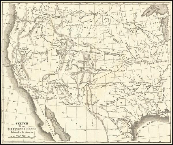 36-Southwest, Rocky Mountains, Pacific Northwest and California Map By R.B. Marcy
