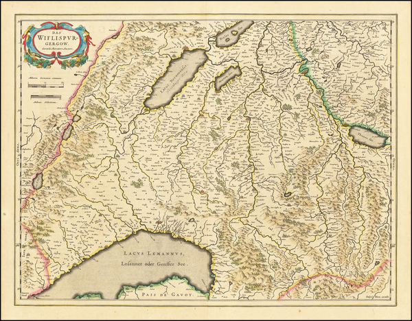 31-Switzerland Map By Willem Janszoon Blaeu