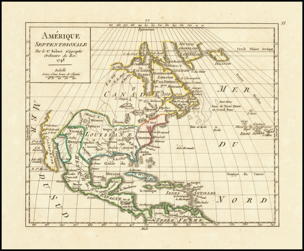 3-North America Map By Gilles Robert de Vaugondy