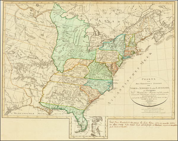 92-United States, South and Southeast Map By Franz Ludwig Gussefeld / A.F. Gotze