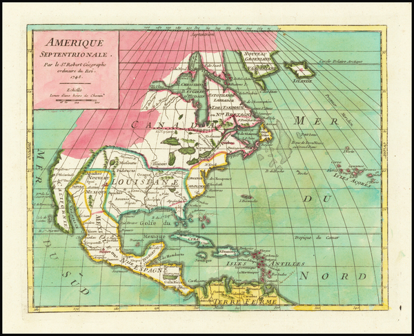 5-North America Map By Gilles Robert de Vaugondy
