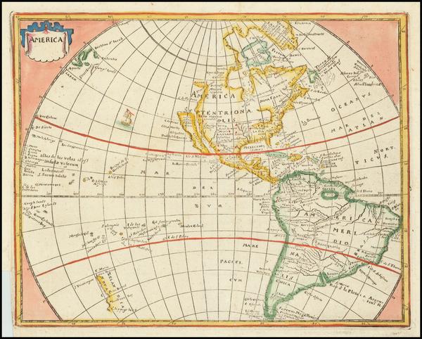 61-Western Hemisphere, California as an Island and America Map By Philipp Clüver