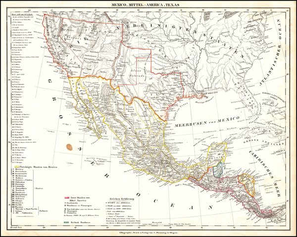 57-Texas, Southwest, Arizona, New Mexico, Rocky Mountains, Mexico and California Map By Carl Flemm