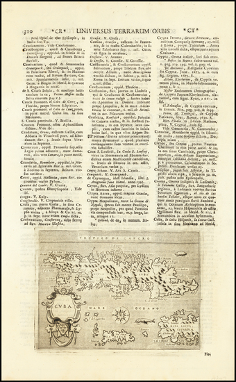 18-Cuba Map By Tomasso Porcacchi / Alphonsus Lasor a Varea