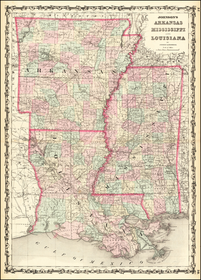 26-South, Louisiana, Mississippi and Arkansas Map By Alvin Jewett Johnson / Browning