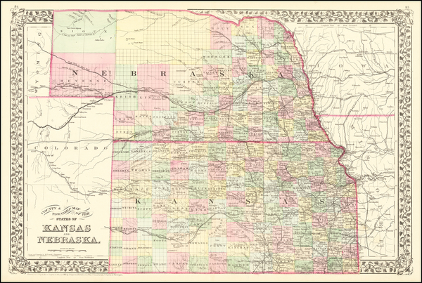 61-Kansas and Nebraska Map By Samuel Augustus Mitchell Jr.