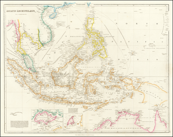 54-Southeast Asia, Philippines, Singapore, Indonesia and Malaysia Map By John Arrowsmith