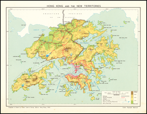 53-Hong Kong Map By Crown Lands & Survey Office Hong Kong