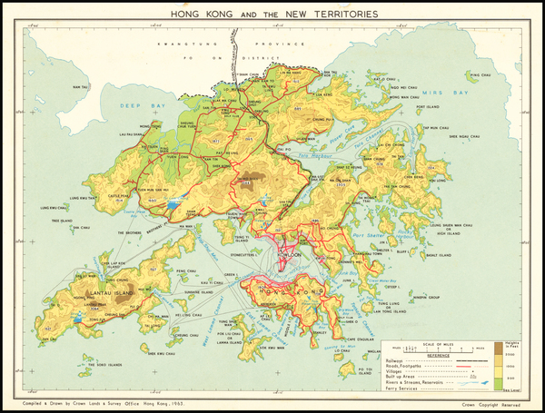 50-Hong Kong Map By Crown Lands & Survey Office Hong Kong