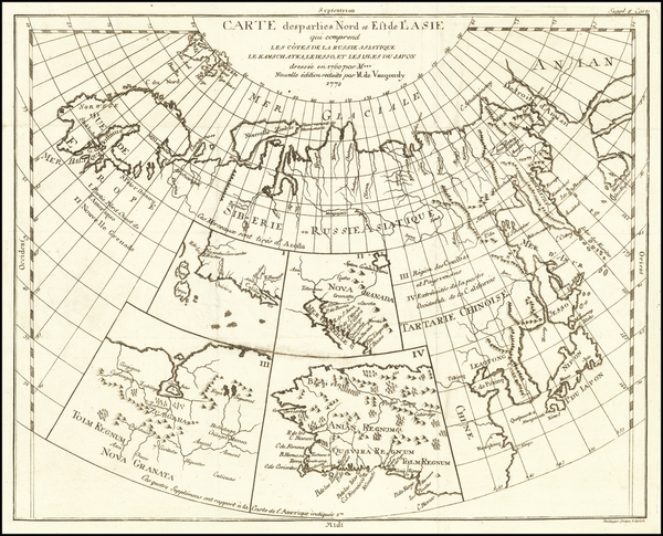 19-Alaska, Asia, Japan and Russia in Asia Map By Denis Diderot / Didier Robert de Vaugondy