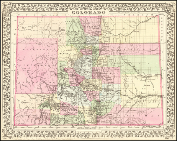 59-Plains, Southwest, Rocky Mountains and Colorado Map By Samuel Augustus Mitchell Jr.