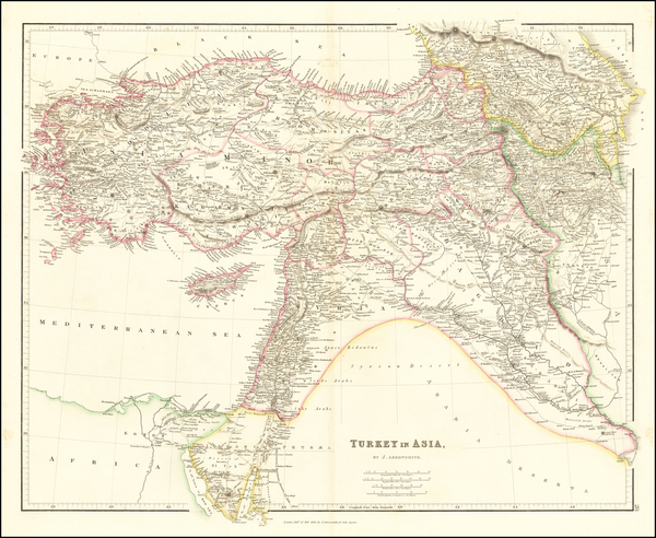 91-Cyprus, Central Asia & Caucasus and Turkey & Asia Minor Map By John Arrowsmith