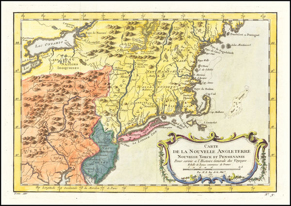 18-New England, Massachusetts, New York State, Mid-Atlantic and Pennsylvania Map By Jacques Nicola
