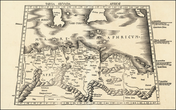 46-Malta, Sardinia, Sicily and North Africa Map By Martin Waldseemüller