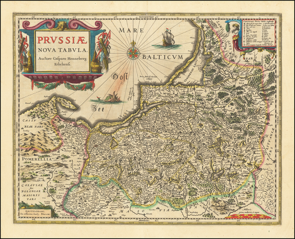 50-Germany, Poland and Baltic Countries Map By Willem Janszoon Blaeu