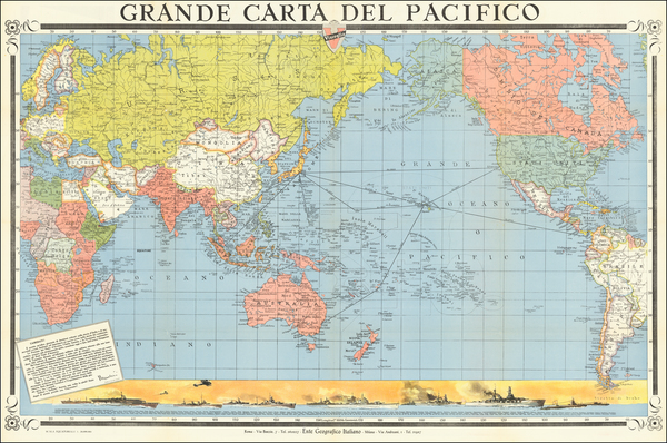 8-World, Pacific Ocean, Pacific and World War II Map By Ente Geografico Italiano