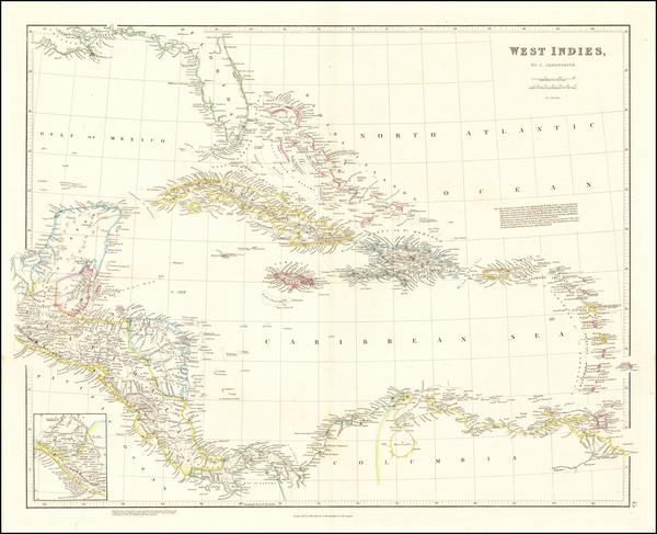 50-Florida, Caribbean and Central America Map By John Arrowsmith