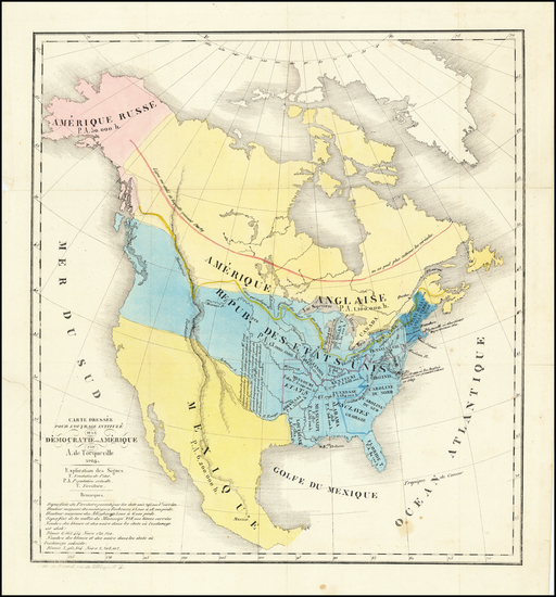 54-United States and North America Map By Alexis De Tocqueville