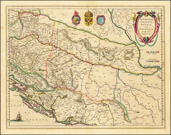 81-Balkans, Croatia & Slovenia, Bosnia & Herzegovina and Serbia Map By Willem Janszoon Bla