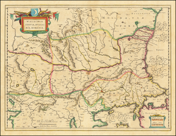 1-Romania, Serbia and Bulgaria Map By Willem Janszoon Blaeu