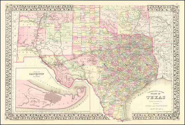 38-Texas Map By Samuel Augustus Mitchell Jr.