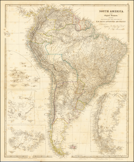 58-South America and Peru & Ecuador Map By John Arrowsmith