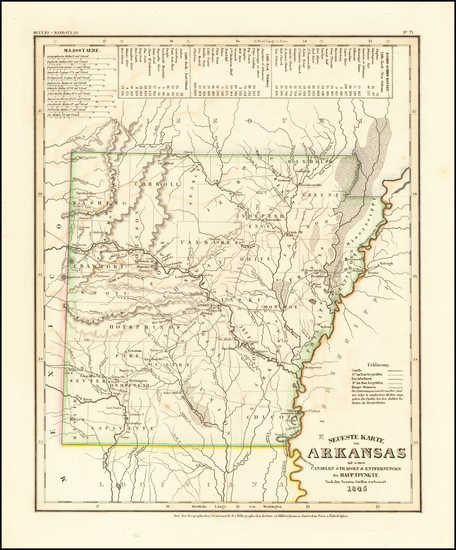 74-Arkansas Map By Joseph Meyer  &  Carl Radefeld