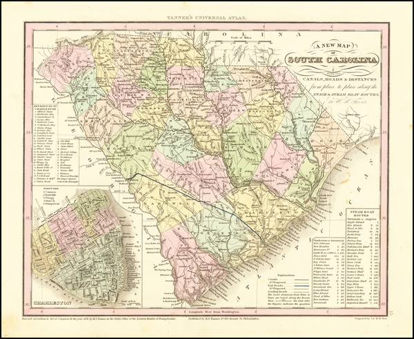 18-South Carolina Map By Henry Schenk Tanner