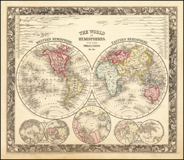 70-World Map By Samuel Augustus Mitchell Jr.
