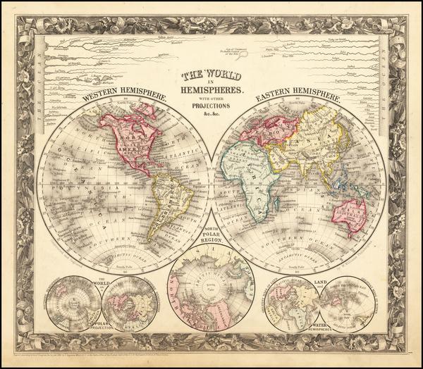88-World Map By Samuel Augustus Mitchell Jr.