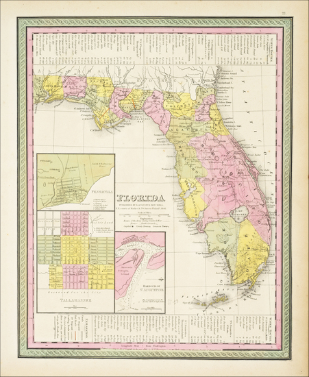 81-Florida Map By Samuel Augustus Mitchell