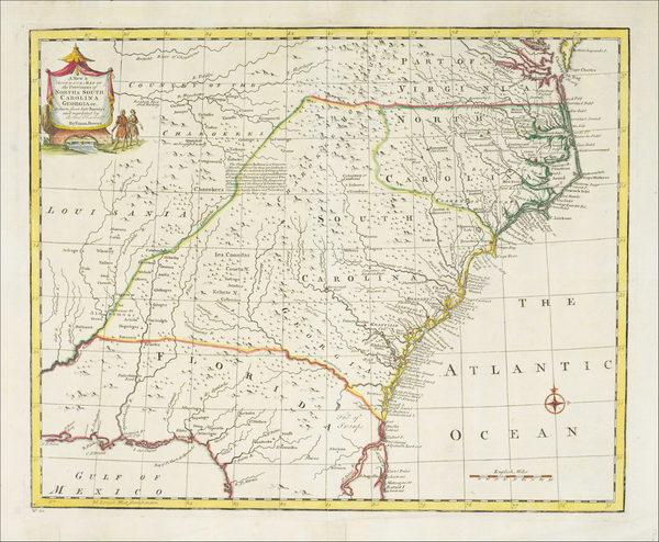 1-South, Southeast, Virginia, Georgia, North Carolina and South Carolina Map By Emanuel Bowen