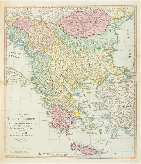 56-Balkans, Greece and Turkey Map By James Whittle / Robert Laurie