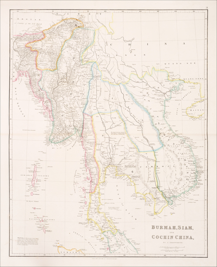 66-Southeast Asia, Malaysia and Thailand, Cambodia, Vietnam Map By John Arrowsmith