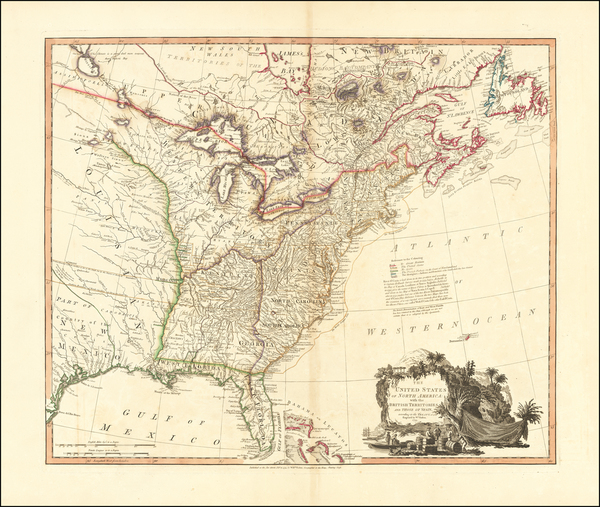 42-United States, South, Tennessee, Southeast and North Carolina Map By William Faden