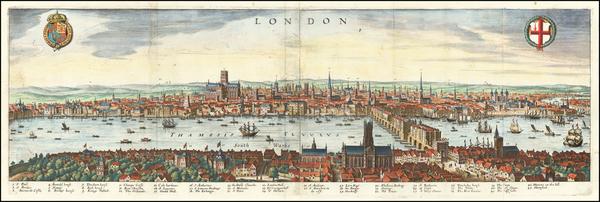 58-London Map By Matthaeus Merian