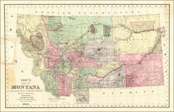 85-Montana Map By Arthur W. Ide