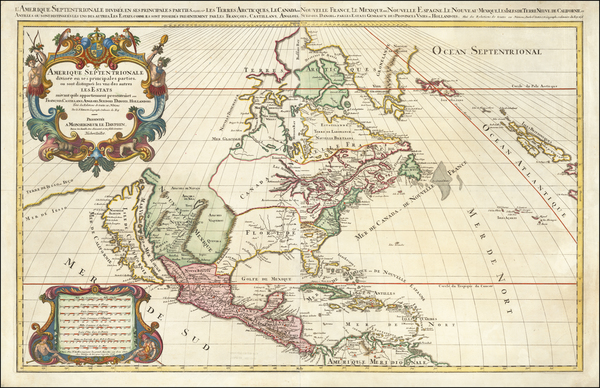47-North America and California as an Island Map By Alexis-Hubert Jaillot