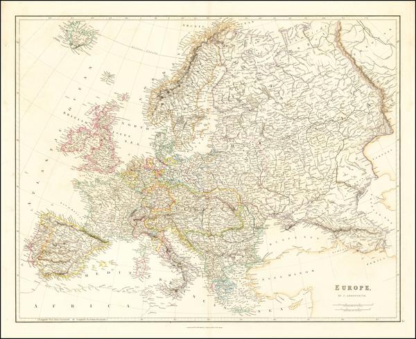 23-Europe Map By John Arrowsmith