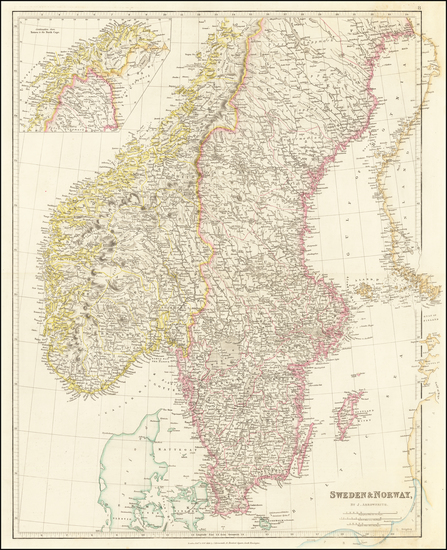 45-Scandinavia, Sweden and Norway Map By John Arrowsmith