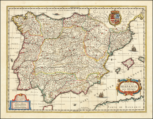 91-Spain and Balearic Islands Map By Willem Janszoon Blaeu