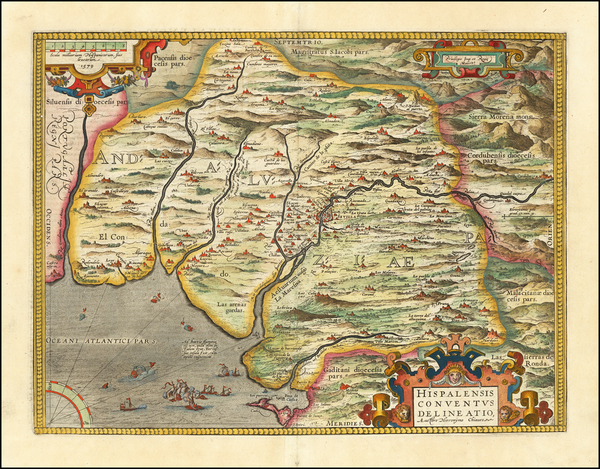 91-Spain Map By Abraham Ortelius