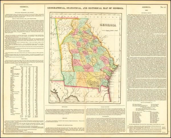 80-Georgia Map By Henry Charles Carey  &  Isaac Lea