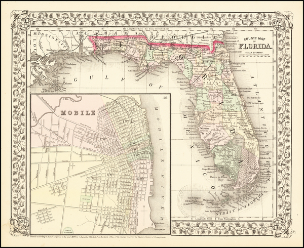 96-Florida and Alabama Map By Samuel Augustus Mitchell Jr.