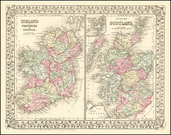 62-Scotland and Ireland Map By Samuel Augustus Mitchell Jr.