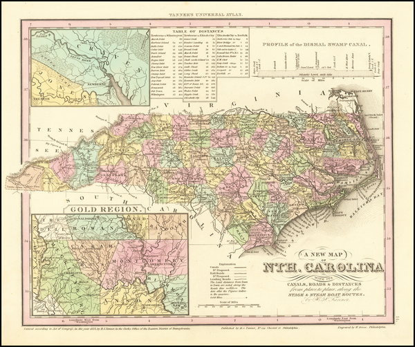 62-North Carolina Map By Henry Schenk Tanner