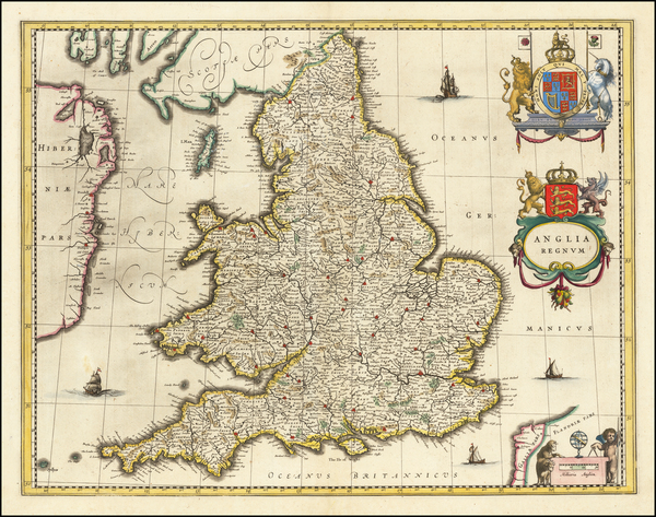 58-England Map By Willem Janszoon Blaeu