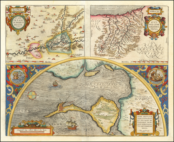 74-Spain Map By Abraham Ortelius